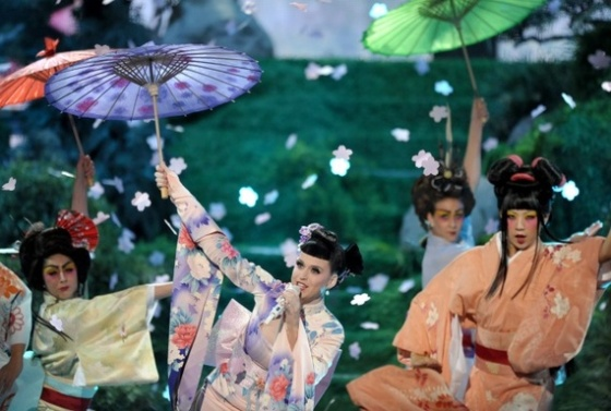 Katy Perry in a geisha-themed performance