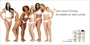 Hey, self-consciously racially diverse group of women; your slightly-larger-than-model-sized bodies are beautiful (which is what's important, obvs), but you should still firm your 'curves'.